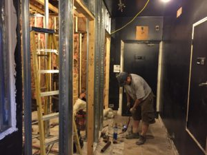 Plumbing for the bathrooms begins